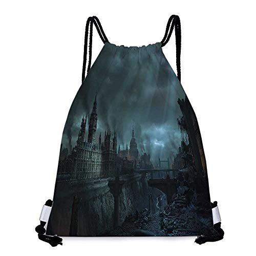 Drawstring backpack series blue clouds cityscapes london destruction buildings big ben Convenient choice for daily activities W13.8 x L17.7 Inch
