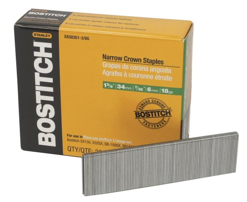 BOSTITCH SX50351-3/8G 1-3/8-Inch by 18 Gauge by 7/32-Inch Crown Finish Staple (3,000 per Box) for cheap
