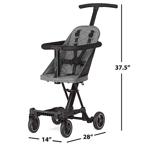 41BF6bLintL - Dream On Me, Coast Stroller Rider, Lightweight, One Hand Easy Fold, Travel Ready, Strudy, Adjustable Handles, Soft-ride Wheels, Easy To Push, Gray