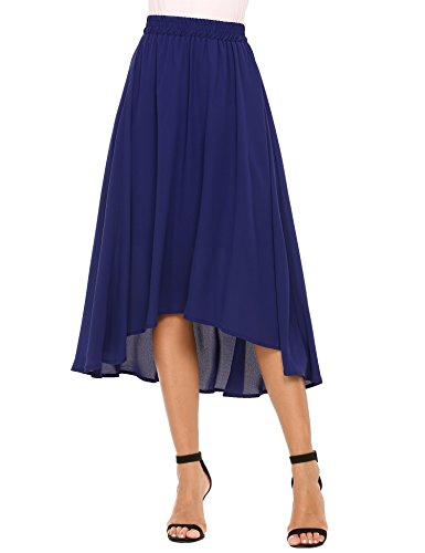Chigant Womens Elastic Waist Chiffon Skirt Flowy High Low Skirt
