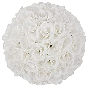 2 Pack Romantic Rose Pomander Flower Balls Rose Bridal for Wedding Bouquets Artificial Flower DIY White By Ben Collection 6