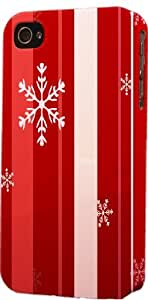 Red Strips & Snowflake Pattern Dimensional Case Fits Apple iPhone 4 or iPhone 4s