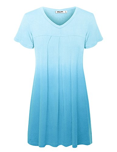 WT1085 Womens Dip Dye V Neck Short Sleeve Pleats Tunic Top L AQUA ()