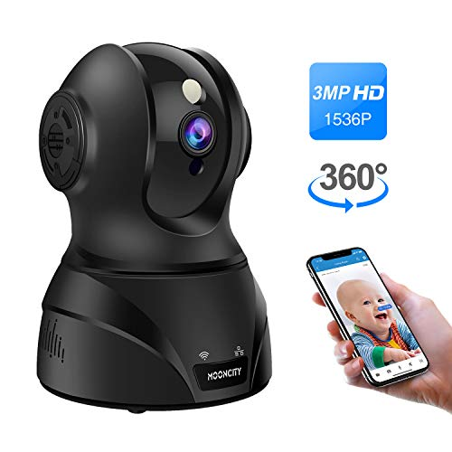 Wireless IP Camera, Pan Tilt Zoom 1536P WiFi Home Security Camera Pet Baby Monitor 2 Way Audio, Motion Detection, Night Vision, Compatible with Alexa