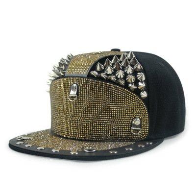 BAICHUANG Hats, punk wind-encrusted diamonds silver beak nails hip-hop flat hat men outdoor street dance hip-hop baseball cap (Color : 6) Diamond Visor Beanie