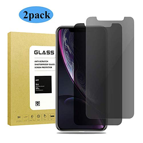 [2Pack] for iPhone XR Privacy Anti-Spy Tempered Glass Screen Protector,Timbay[Case Friendly][9H Hardness][Bubble Free][3D Touch] Tempered Glass Screen Protector for iPhone XR Black from Abcalet