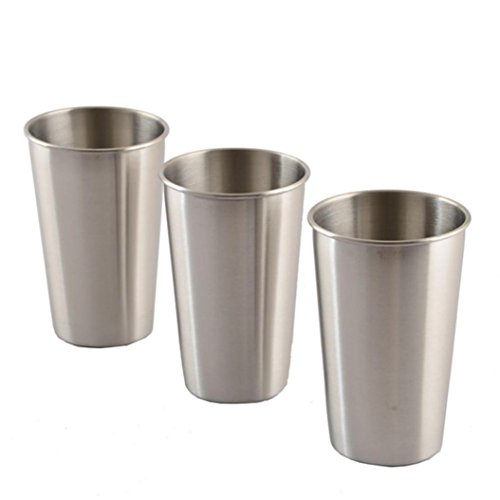 YJYdada 3pcs Stainless Steel Cup Drinking Juice Beer Glass Portion Cups home Travel Tool (500ML) (Insert Ashtray Stainless Steel)