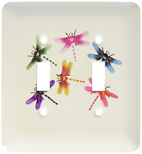3dRose LLC lsp_109374_2 Neon Colored Dragonflies Double Toggle Switch (Neon Dragon)
