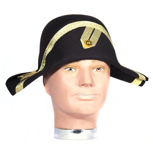 [HMS Napoleon Hat Simulated Wool with Gold Trim 6 Inch High, Black, One Size] (Napoleon Hat Costume)