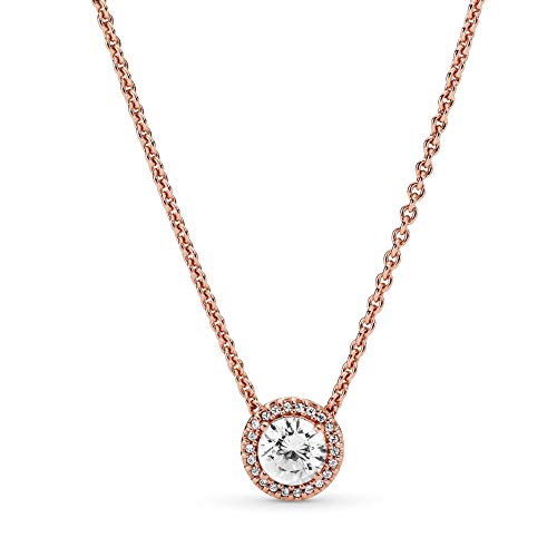 45 Cm Necklace - Pandora Jewelry - Round Sparkle Halo Necklace in Pandora Rose with Clear Cubic Zirconia, 17.7 IN / 45 CM