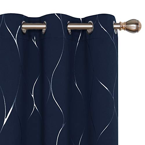 Deconovo Silver Wave Foil Printed Blackout Curtains Room Darkening Grommet Curtain Thermal Insulated Window Decorative Drapes for Bedroom 42W x 72L Inch Set of 2 Panels Navy Blue (Blue Silver Drapes)