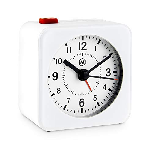 Marathon CL030065WH-WH2 Mini Travel Alarm Clock. No Ticking, Auto Back Light and Snooze Function. Color-White Case/White Dial