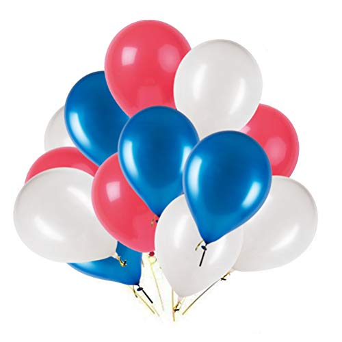 MOWO Red Blue White Latex Balloons, Fourth of July Party Balloons, 12 inches, 3.2g/pcs, Pack of 100 -