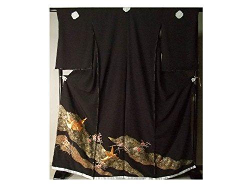 抜け目のないアンテナティーンエイジャー留袖 黒留袖 お仕立て付き 上品な刺繍吉祥飛鶴花文様 京友禅 比翼仕立て to180s