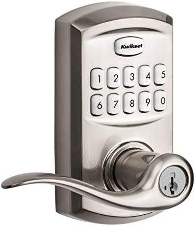 Kwikset 99170-003 SmartCode 917 Keypad Keyless Entry Contemporary Residential Electronic Lever Lock Deadbolt Alternative with Halifax Door Handle and SmartKey Security Satin Nickel