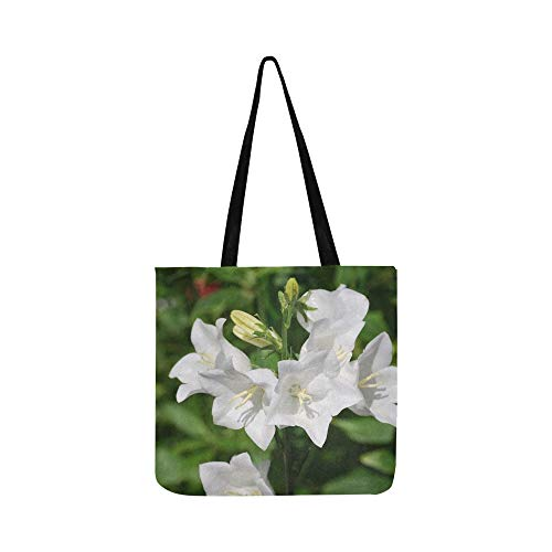 Campanula Bell Flower White Flower Canterbury Bell Canvas Tote Handbag Shoulder Bag Crossbody Bags Purses For Men And Women Shopping Tote