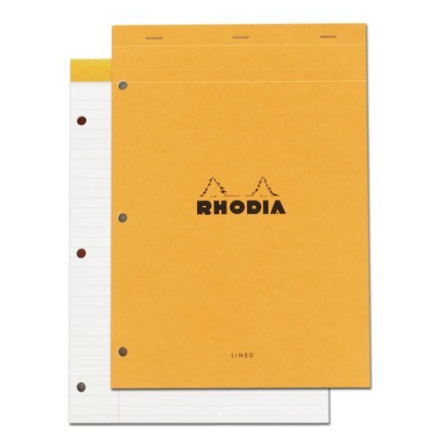Pack of 5 Rhodia Classic French Paper Pads Ruled with Margin, 3-hole Punched 8 1/4 In. X 11 3/4 In. Orange