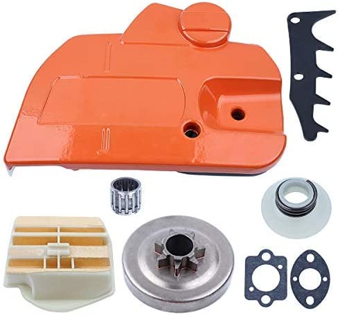 Worm Gear Felling Dog Adefol Chainsaw Brake Clutch Cover 8pcs Kit for Husqvarna 445 450 with .325 7T Clutch Drum Gasket Replacement Parts for 544097902 578097901 Needle Bearing Air Filter