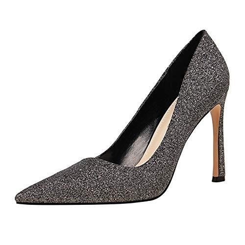 Shoes Stiletto Comfort ZHZNVX Women's Silver Almond Gold Heel PU Heels Fall Gray Polyurethane Fc5Sq1g5