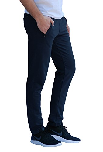 Soccer Track Training Pants Athletic Sweatpants with Zipper Pockets Black Heather Grey Short Long Inseam (Small x 33L, Navy Blue) ()