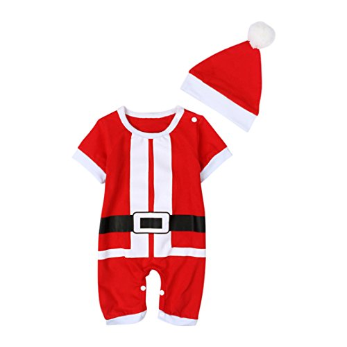EITC Baby Boys Girls Romper Christmas Santa Claus Bodysuit+ Hat Outfit Clothing 4-9M (Baby Santa Outfit For Boy)