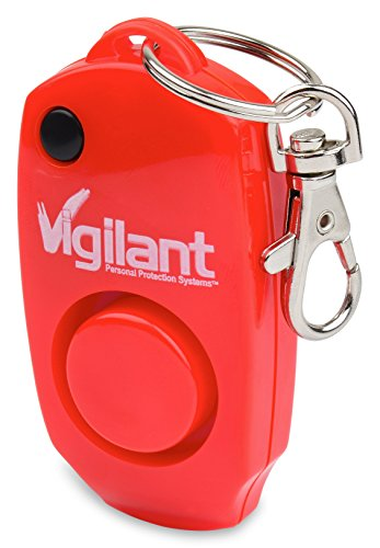 Vigilant 130dB Personal Alarm - Backup Whistle - Button Activated with Hidden Off Button - Bag Purse Key Chain Keyring Clip - Batteries Included - for Men Women Kids Students ()