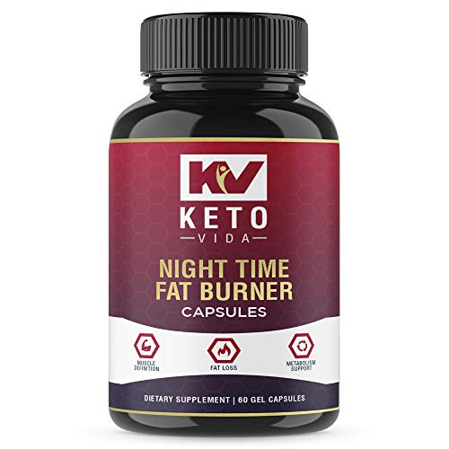 Keto Vida Night Time Fat Burners for Men and Women - Best Weight Loss Pills and Appetite Suppressant; 60 Servings