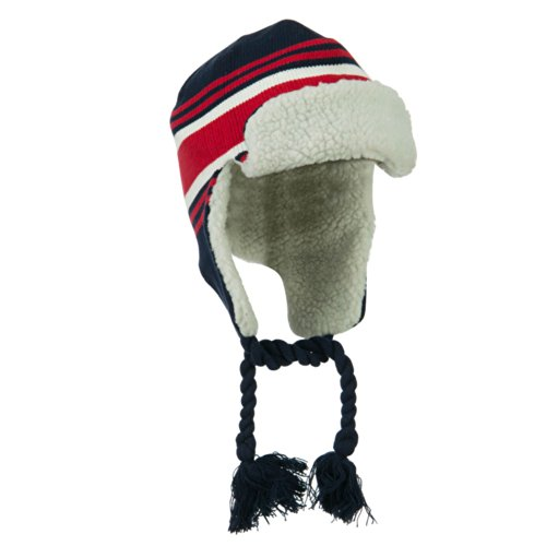Contrast Jacquard Striped Knit Ski Hat - Navy Red OSFM