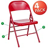 Set of Four Folding Chairs Flash Furniture Hercules Series Triple Braced and Quad Hinged Red Metal Folding Chairs, Set of 4