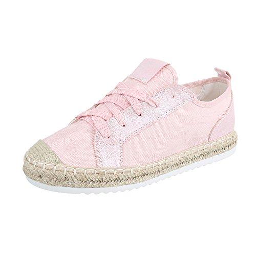 Sneaker Low-top Donna Scarpe Sneakers Basse Stringate Ital Scarpe Casual Design Rosa, Gr 37, B754s-bl