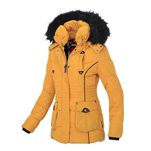 Schon Marikoo Damen Winter Jacke Stepp Parka Mantel Teddyfell Warm Gefüttert  Vanilla XS XXL Gelb TjudB0 ...
