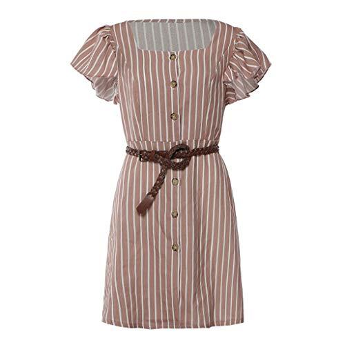 Button Down Dresses for Women Short Sleeve Stripe Ruffle Sleeve Slim Fit Mini Dress (S, -