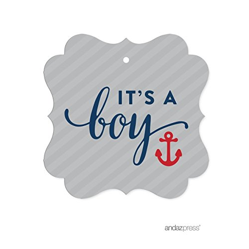 Andaz Press Nautical Baby Shower Collection, Fancy Frame Gift Tags, It's a Boy!, 24-pack, For Themed Party Favors, Gifts, Decorations
