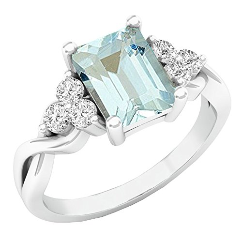 Dazzlingrock Collection 14K 8X6 MM Emerald Cut Aquamarine & Round White Sapphire Engagement Ring, White Gold, Size 7