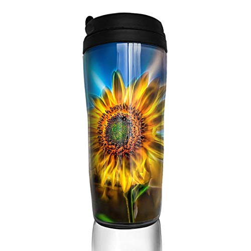 Sam-Uncle Travel Coffee Mug Sunflower Art Design Insulated Coffee Cup Thermos Water Bottle