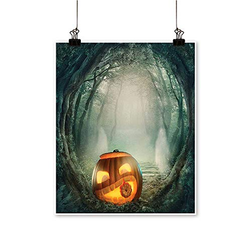 Home Decor Big Scary Halloween Pumpk Mystic Twilight P y Themed Orange Teal Art Wall Art for Room,12
