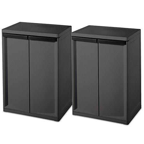 Sterilite 2 Shelf Laundry Garage Utility Storage Cabinet Flat Gray 0140 (2 Pack) by STERILITE
