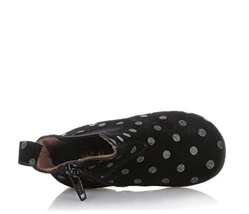 PÈPÈ - Schwarze Stiefelette aus Wildleder mit silbernem Punkte-Muster, made in Italy, Mädchen-29