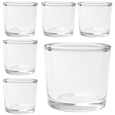"""Hosley's Set of 6 Heavy Clear Chunky Glass Tea Light, Votive Candle Holders - 2.4"""" High. Ideal for Weddings, Parties, Spa, Aromatherapy, Bridal setting,Reiki, Meditation, Bulk Buy"""