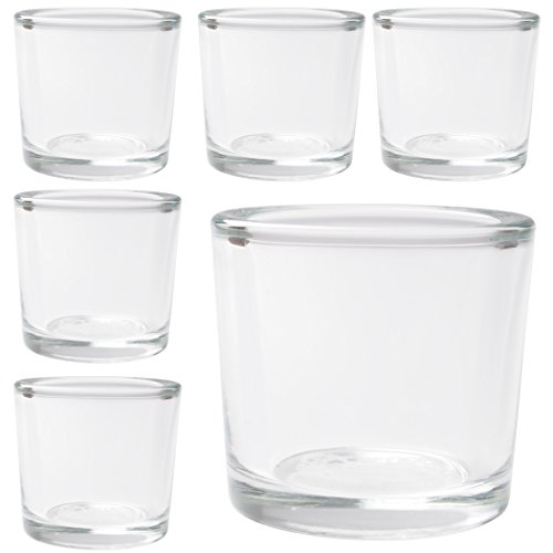 Hosley's Set of 6 Heavy Clear Chunky Glass Tea Light, Votive Candle Holders - 2.4