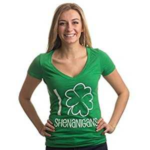 Ann Arbor T-shirt Co. I Shamrock Shenanigans | Cute, Funny St. Patrick's Day Women's Green Deep V-Neck