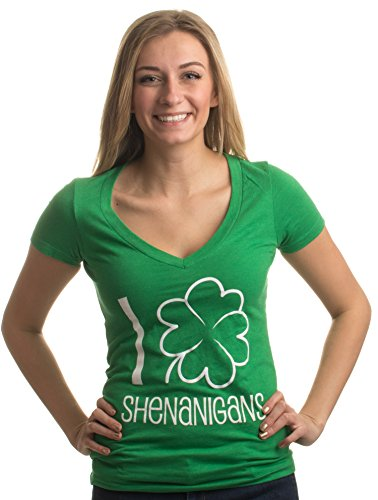 (Ann Arbor T-shirt Co. I Shamrock Shenanigans | Cute, Funny St. Patrick's Day Women's Green Deep)