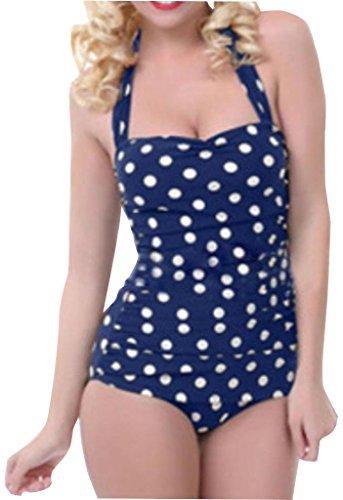 Polka Dot Swimsuit Retro Vintage One Piece Swimwear Monokinis,XXL