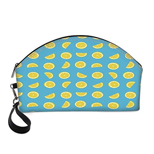 Yellow and Blue Small Portable Cosmetic Bag,Fresh Lemon Slices Fruit Happy Summer Sun Exotic Vacation Holiday Joy For Women,Half Moon Shell Shape One size (Joy Skin Fruits Lemon Face Wash Review)