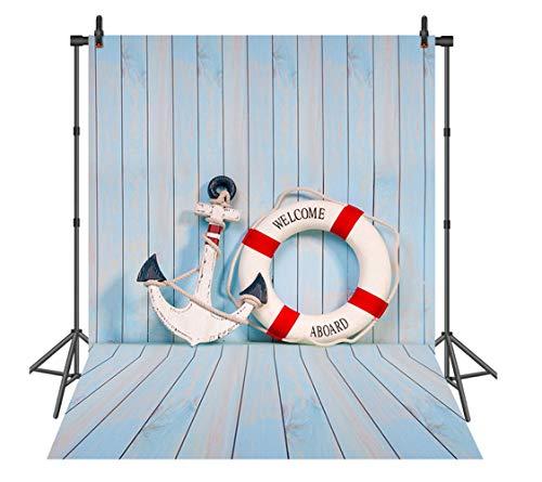 Sensfun 5x7ft Wood Nautical Photo Backdrops Anchor Life Buoy Light Blue Baby Photography Background Vinyl Newborn Studio Backdrop Props