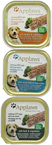 Applaws Natural Wet Dog Food, Pate Multipack with Turkey, Ocean Fish and Beef with Vegetables in 150 g Trays (Pack of 5) – Dogs Corner