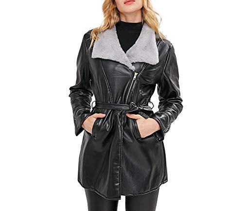 Femmes Availcx En Femmes une Revers Écharpe Cuir Manteau Longue Hiver Taille À De Plus De Veste Anneau En Filles Faux Vent 2018 Pour Ceinture n0SBWnxr