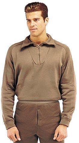 Shirt Zip Collar Underwear (Brown ECWCS GI Polypropylene Underwear Zip-Collar Shirts 6250 Size L)