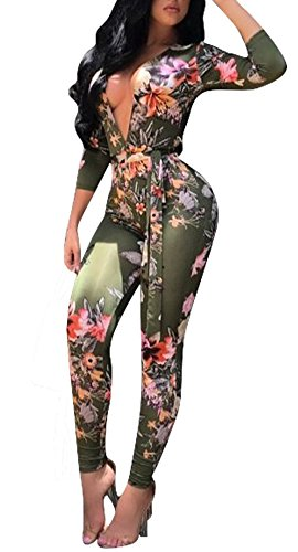 Women's Hot Sexy Bodycon Long Sleeve Africa Print V-Neck Jumpsuit Dark Green-L by Playworld