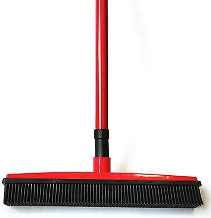 SAIrch Adjustable Silicone Bristle Push Broom Carpet Rake Squeegee,Human and Pet Hair Remover Adjustable rubber Bristles Sweeper Squeegee for Pet Cat Dog Hair Carpet